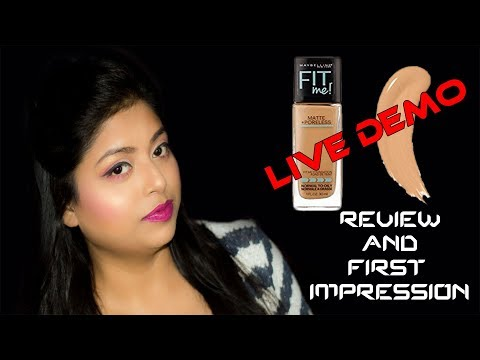 Maybelline Matte And Poreless Foundation For Dry And Oily Skin Review And Live Demo | Indian Makeup