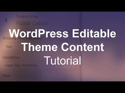WordPress Custom Editable Theme Content (Image & Text) Tutorial