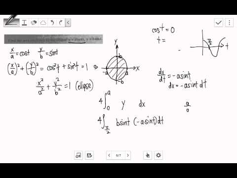Parametric x=acost, y=bsint, integration, area