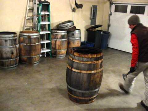 Taking apart wine barrel