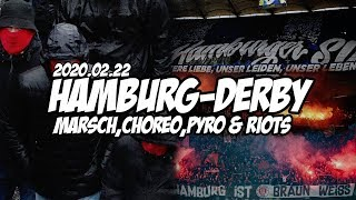Hsv - St. Pauli 2020.02.22 | Hamburg-Derby: Fanmarsch, Tumulte, Choreo & Pyro