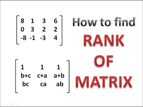 How to find Rank of Matrix || RANK OF MATRIX || MATRICES || Engineering Mathematics