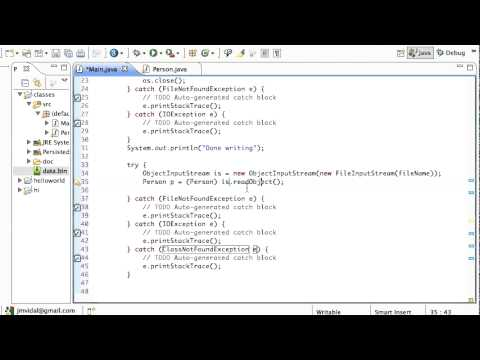 Java Serializable interface: Reading and writing Objects to a file Tutorial