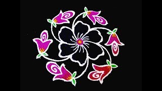 Simple Flower Rangoli Beautiful Flower Kolam With 6x6 Dots Easy