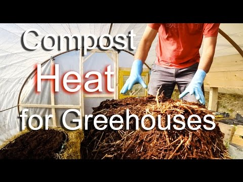 Greenhouse heating using compost and thermal mass  - Chauffage de serre avec compost