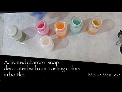 Activated charcoal soap-using squeeze bottles to decorate.