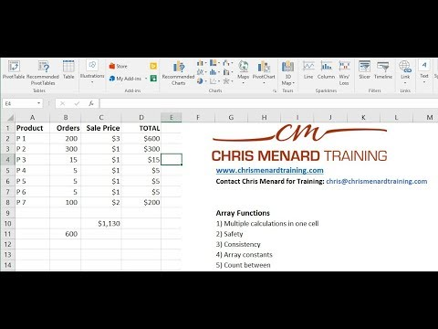 Array Functions in Excel vs Countif and Countifs by Chris Menard