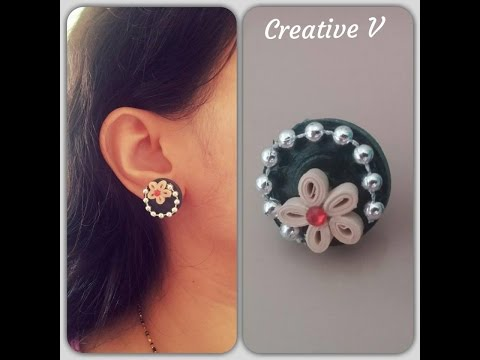How To Make Quilling Stud Earrings / Design 6 / Tutorial / #44