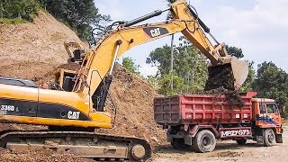 Big Digger Large Excavator And Dump Truck Moving Dirt