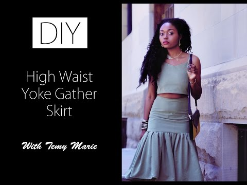 DIY OOTD Style High Waist Yoke Gather Skirt tutorial