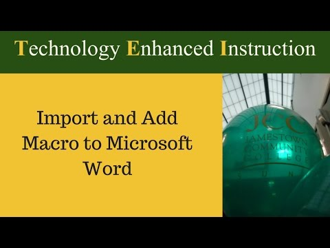 Import and add macro to Microsoft Word