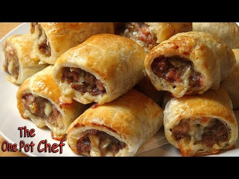 Cheesy Beef and Bacon Sausage Rolls | One Pot Chef