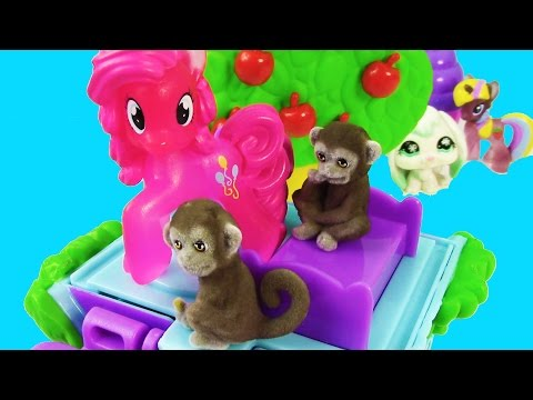 MLP Pinkie Pie Mom Baby Jungle In My Pocket Monkey Treehouse Toy Review Playset