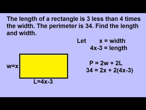 Algebra - Word Problems: Geometric Shapes: Rectangles (1 of 2)