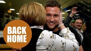 Jamie Harron arrives back in Scotland after released from jail in Dubai.