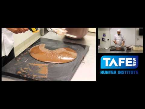 Tempering Chocolate with Dean Gibson at Hunter TAFE Bakery-  table method