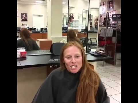 haircut on long red hair to a short pixiecut