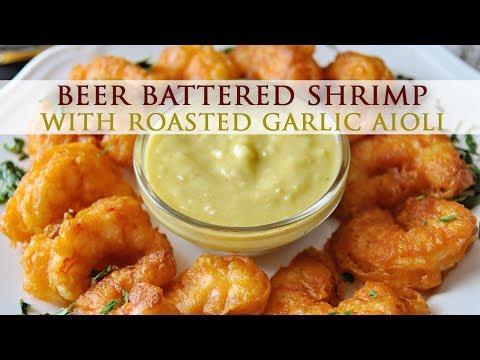Beer Battered Shrimp With Roasted Garlic Aioli