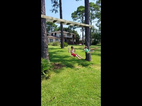 Building a swing set between 2 trees
