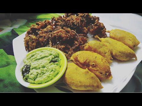 Kanda, Mirchi Bhajji Kairi Ki Chutney Ke Saath/ Onion N Green Chilli Fritters/ Ramzan Special