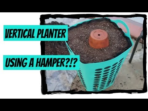 DIY Vertical Planter using a Hamper?!? How to make a vertical tower garden quick and easy