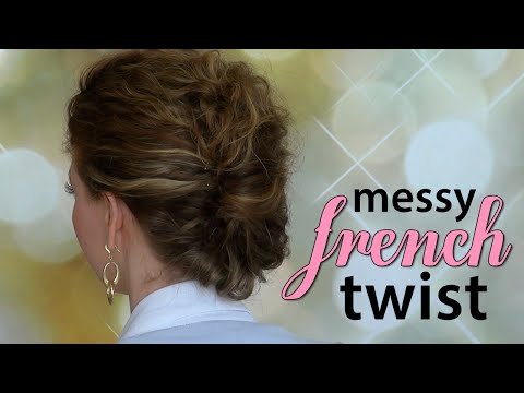 Quick, Easy, Messy French Twist for Curly Hair