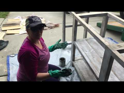 Distressing using a stain and paint combination