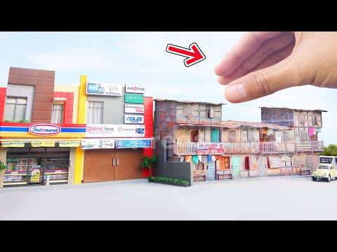 Cantik Miniatur Rumah Tingkat Kumuh & Indomaret utk Diecast Diorama