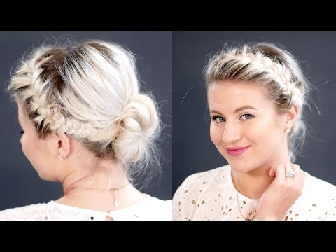 French Braids Messy Bun For Short Hair | Milabu