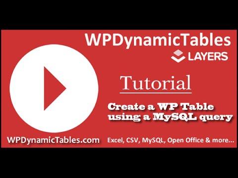 Create WordPress Dynamic Table Table using a MySQL query
