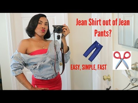 DIY| BLUE JEAN PANTS INTO BLUE SHIRT | EASY & FAST