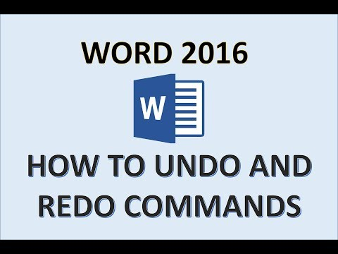Word 2016 - Undo and Redo Commands or Actions