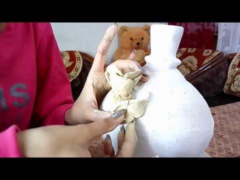 💓 DIY Flower vas using Paper Mache 💓