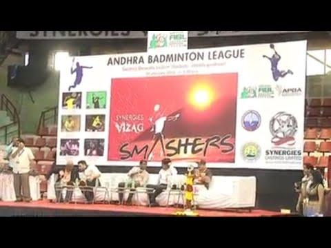 Port Trust Chairman MT Krishna Babu inaugurating Andhra Badminton League-2018