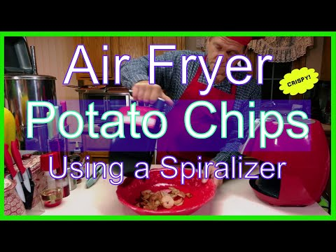 Homemade Air Fryer Chili Cheese Potato Chips using a Spiralizer