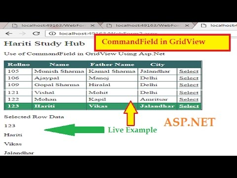 How to Use CommandField in GridView Asp.net | Hindi | Learn Asp.Net
