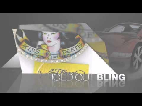 Geisha Kiss of Death Silver Rhinestone Tattoo Ed Hardy Buckle