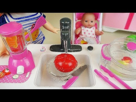 Baby Doll Kitchen toys cook vegetable and Play Doh cake microwave toy