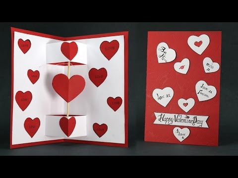 Diy Valentine Card Twirling Heart Pop Up Card Step By Step