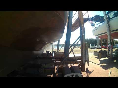 restoring the bottom of my steel bilge keel Sail boat Morning Mist part 2 sand blasting hells armpit