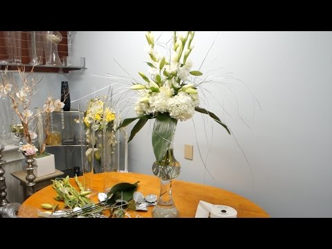 How to Make a Tall Wedding Arrangement with Hydrangeas and Lilies