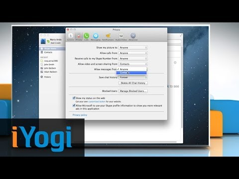 Changing of Skype® IM settings and notifications in Mac® OS X™