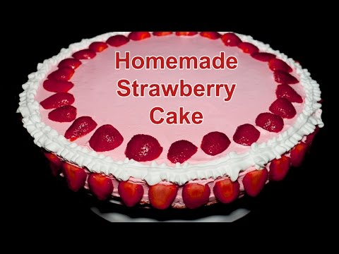 Homemade Strawberry Cake Recipe - How to make Strawberry Cake by Kitchen With Amna