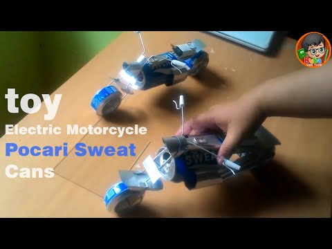 How to Make toy Electric Motorcycle with Pocari Sweat Cans - Step by Step