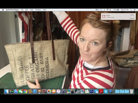 repurposed coffee bean sack into shopping tote part 1 of 2