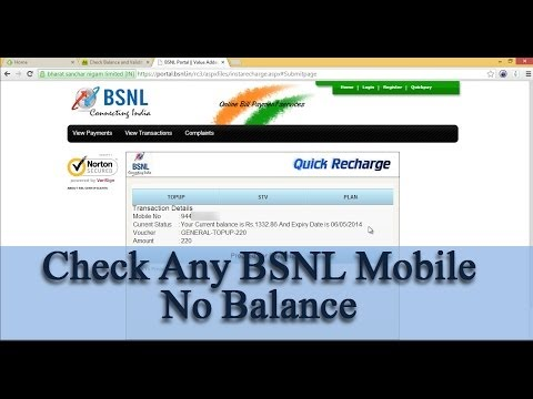 Check BSNL Mobile Number Balance Online