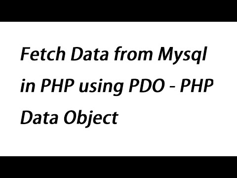 Fetch Data from Mysql in PHP using PDO - PHP Data Object