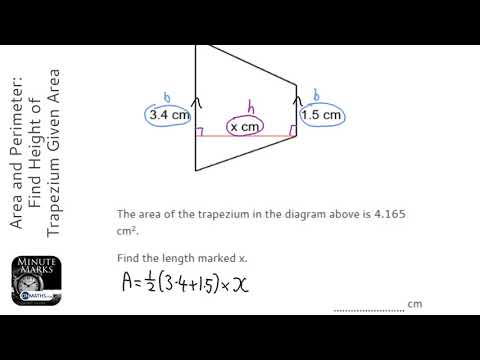 Area and Perimeter: Find Height of Trapezium Given Area (Grade 3) - OnMaths GCSE Maths Revision