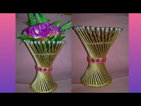 How to make Flower Vase ||DIY Simple Paper Craft|flower Pot making || dustu pakhe craft|