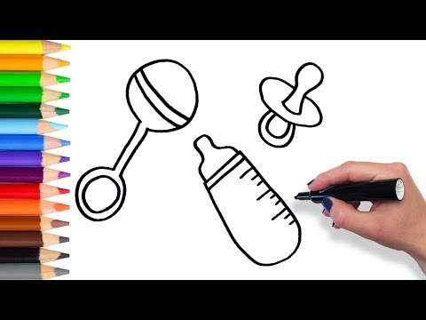 How to Draw Baby Bottle Rattle Pacifier  | Teach Drawing for Kids Toddlers Coloring Page Video